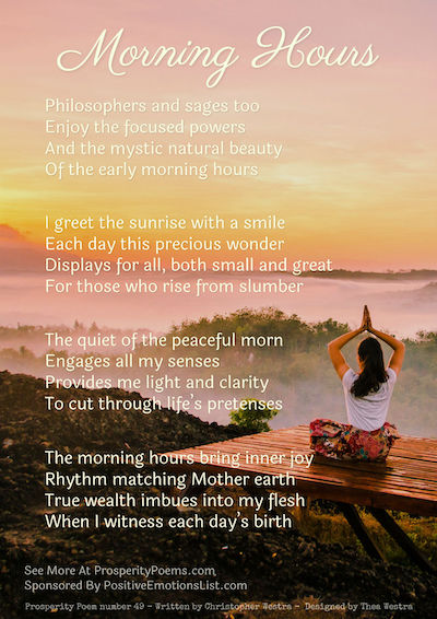 Prosperity Poem 49 - Morning Hours