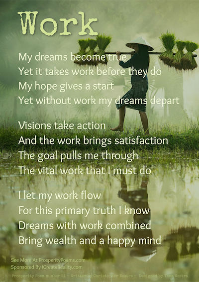 Prosperity Poem Number 51 - Work -  by Christopher Westra